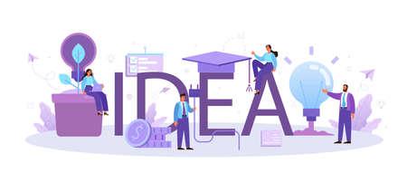Idea typographic header. Creative innovation and brainstorm. Solution generation Stock Illustratie