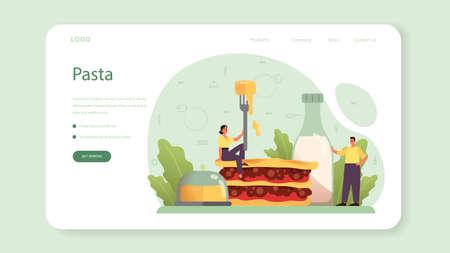 Tasty lasagna web banner or landing page. Italian delicious Çizim