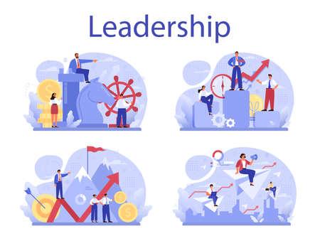 Leadership concept set. Manager leading a workteam. Strategy Ilustração