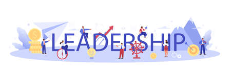 Leadership typographic header. Manager leading a workteam. Strategy