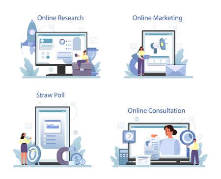 Marketing research online service or platform set. Statistics analysis