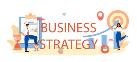 Business strategy typographic header. Start up development and brand