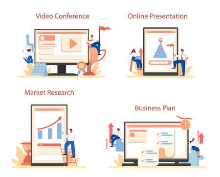 Brand mission online service or platform set. Start up development Ilustración de vector