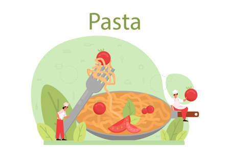 Spaghetti or pasta. Italian food on the plate. Delicious dinner, Çizim