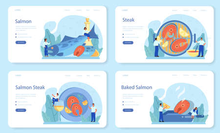 Salmon steak web banner or landing page set. Chef cooking grilled