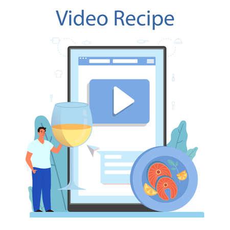 Salmon steak online service or platform. Chef cooking grilled