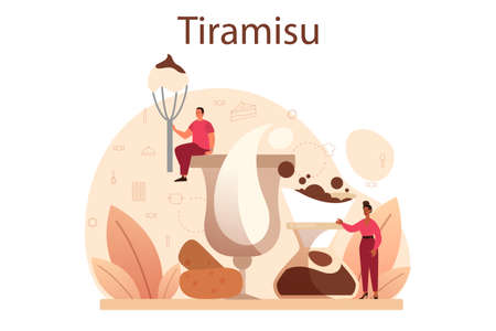 Tiramisu dessert. People cooking delicious italian cake. Sweet slice