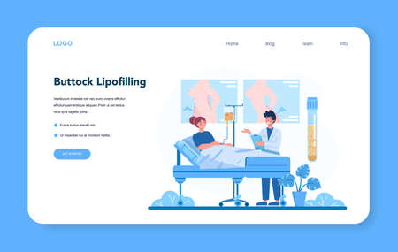 Plastic surgeon web banner or landing page. Idea of body and face