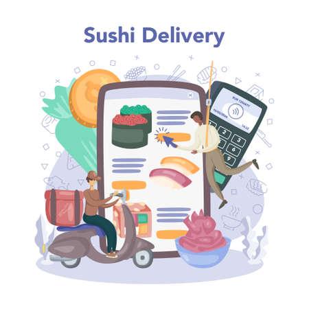 Restaurant chef cooking rolls and sushi online service or platform