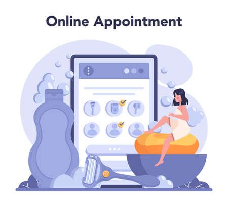 Depilation and epilation online service or platform. Hair removal Vettoriali