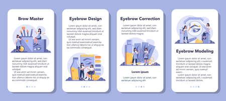 Eyebrow master and designer mobile application banner set.