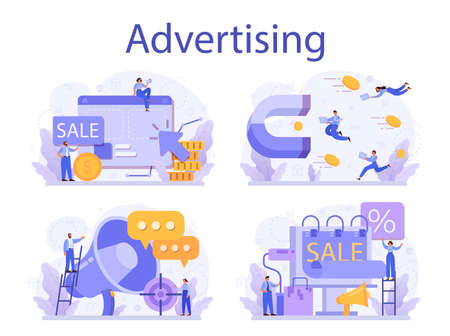 Advertsing concept set. Commercial advertisement and communication