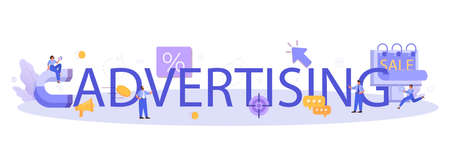 Advertsing typographic header. Commercial advertisement and communication
