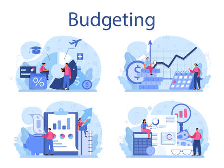 Budgeting concept set. Idea of financial planning and well-being