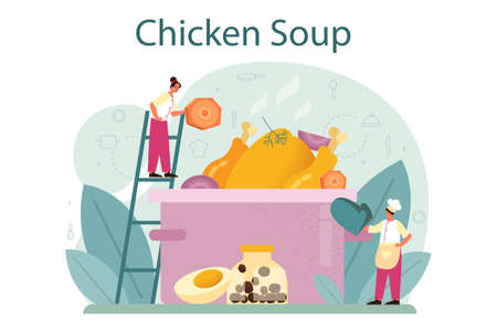 Chicken soup. Tasty meal and ready dish. Chicken meat