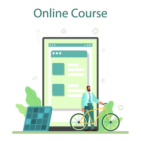 Eco friendly business online service or platform. Green energy and polution