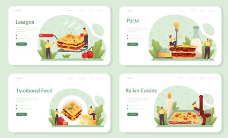 Tasty lasagna web banner or landing page set. Italian delicious