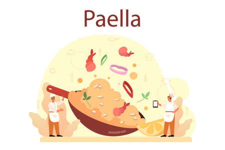 Paella. Spanish traditional dish with seafood and rice on a plate.