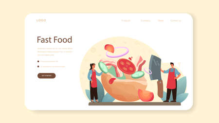 Shawarma street food web banner or landing page. Chef cooking