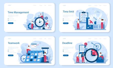 Time management web banner or landing page set. Business people work Vetores