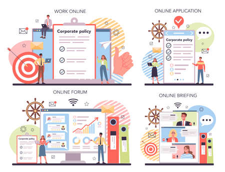 Corporate organization online service or platform set Vecteurs