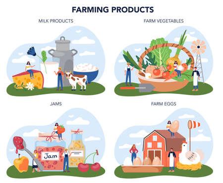 Farm product concept set. Farming food production. Village groceries.