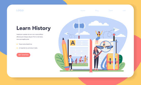 History web banner or landing page. History school subject.