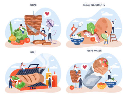 Kebab street food concept set. Chef cooking delicious roll Çizim