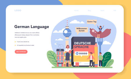 German learning web banner or landing page. Language school Çizim