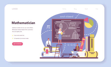 Mathematician web banner or landing page. Mathematician seek