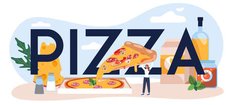 Pizza typographic header. Chef cooking tasty delicious pizza.