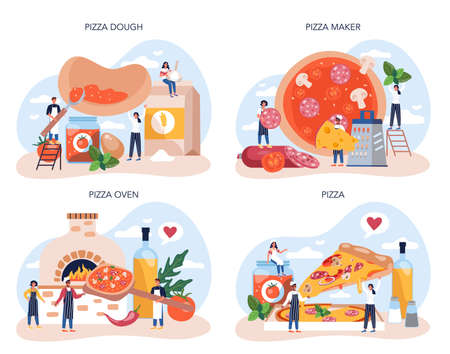 Pizza maker concept set. Chef cooking tasty delicious pizza.