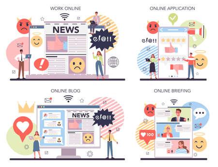 Business reputation online service or platform set. Building relationship
