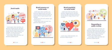 Social media mobile application banner set. Internet communication