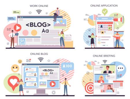 Brand promotion online service or platform set. Customer attention