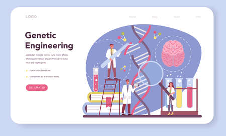 Geneticist web banner or landing page. Engineering and science