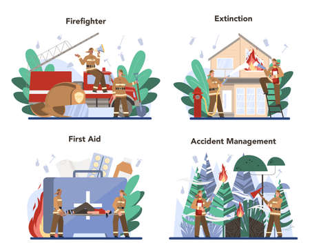 Fireman concept set. Professional fire brigade firhting with flame