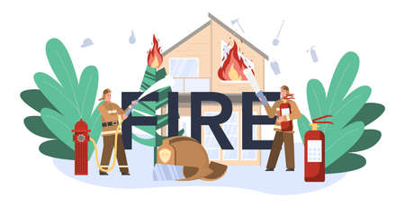 Fire typographic header. Professional fire brigade firhting with flame