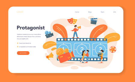 Actor and actress web banner or landing page. Idea of creative people