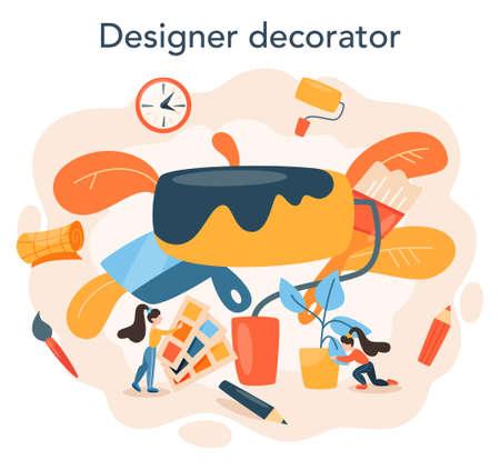 Professional decorator concept. Designer planning the design
