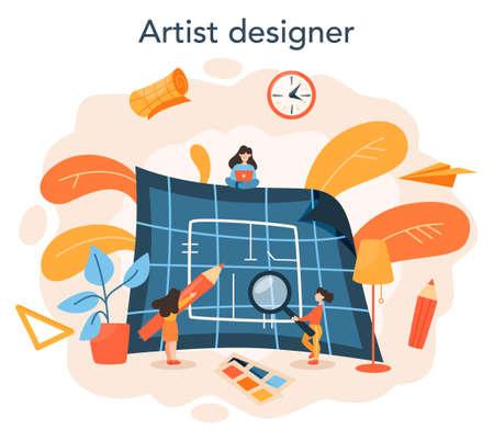 Professional interior designer concept. Decorator planning the design