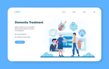 Psychiatrist web banner or landing page. Mental health diagnostic Banco de Imagens