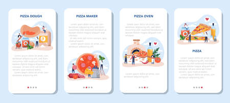 Pizza maker mobile application banner set. Chef cooking tasty delicious pizza.