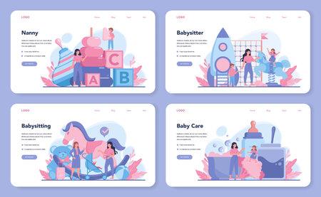 Babysitter service or nanny agency web banner or landing page set.