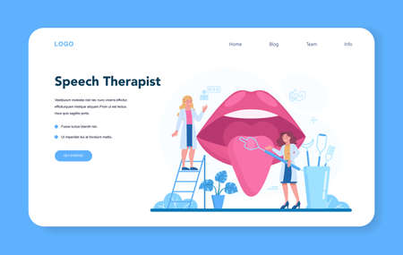 Speech therapist web banner or landing page. Didactic correction
