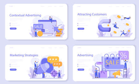Advertsing web banner or landing page set. Commercial advertisement