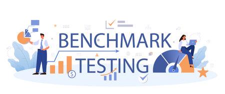Benchmark testing typographic header. Idea of business development