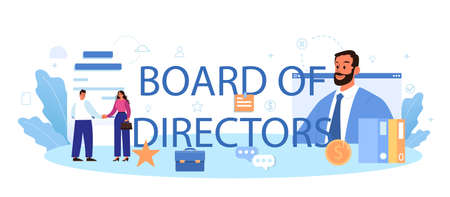Directors board typographic header. Business planning and development Illustration