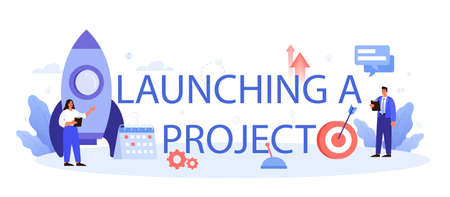 Launching project typographic header. Company and personal
