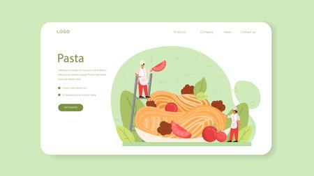 Spaghetti or pasta web banner or landing page. Italian food